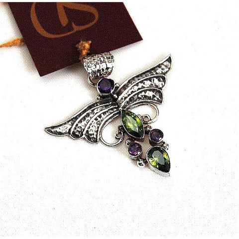 SILVER WINGED PENDANT WITH PERIDOT & AMETHYST - Side Street Studio
