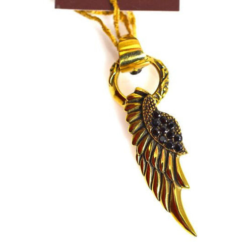 BRONZE  ANGEL WING & ZIRCON PENDANT - Side Street Studio