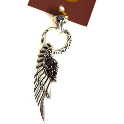 STERLING SILVER ANGEL WING AND ZIRCON PENDANT - Side Street Studio