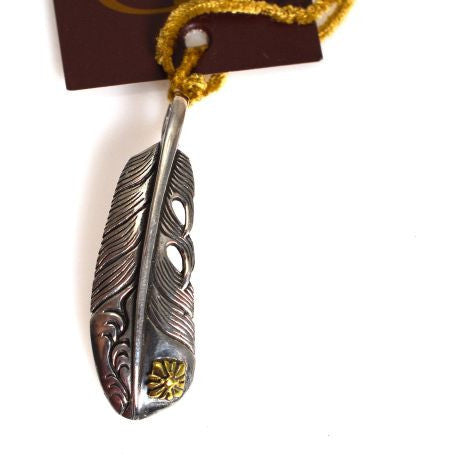 STERLING SILVER  FEATHER WITH BRONZE PENDANT - Side Street Studio