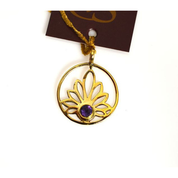 BRONZE LOTUS  DESIGN PENDANT WITH AN AMETHYST - Side Street Studio
