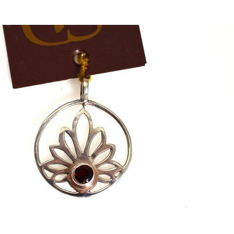 STERLING SILVER  LOTUS WITH AMETHYST DESIGN PENDANT - Side Street Studio