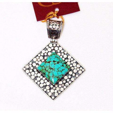 STERLING SILVER PENDANT WITH TURQUOISE - Side Street Studio