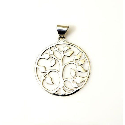 SILVER ABSTRACT TREE OF LIFE PENDANT - Side Street Studio