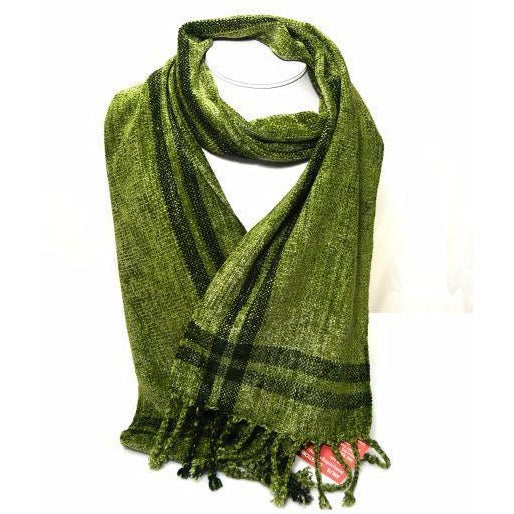 Soft Hand Woven Scarf in Olive Green - Side Street Studio
