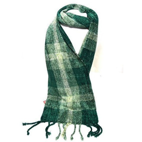 Soft Hand Woven Scarf in Green and Beige Squares