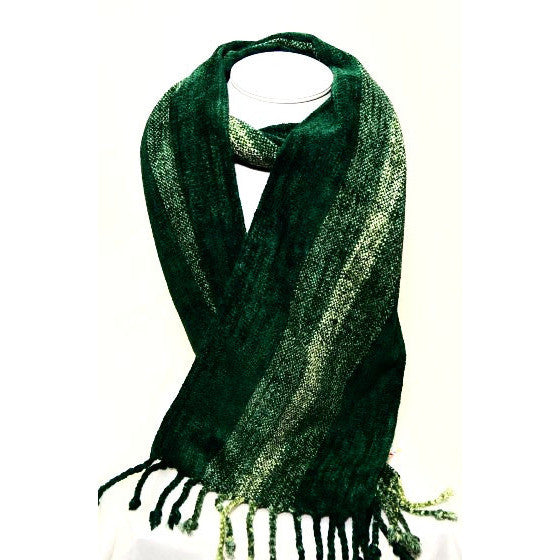 Soft Hand Woven Scarf in Green and Beige - Side Street Studio