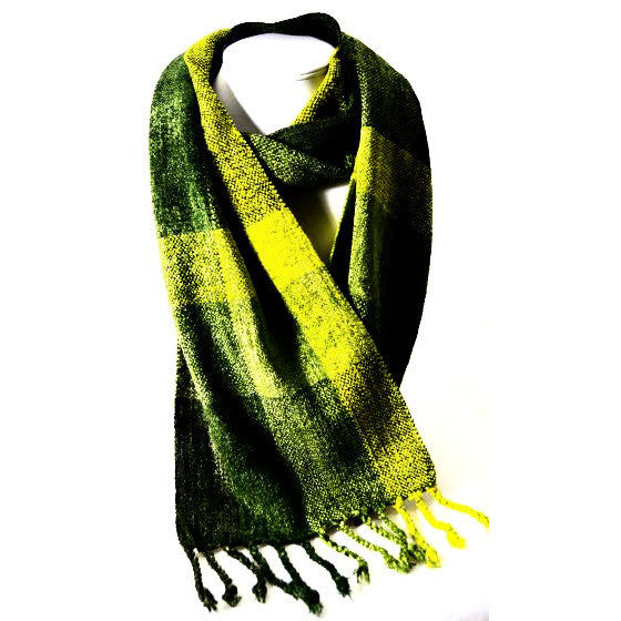 Soft Hand Woven Scarf in Olive Green and Yellow - Side Street Studio
