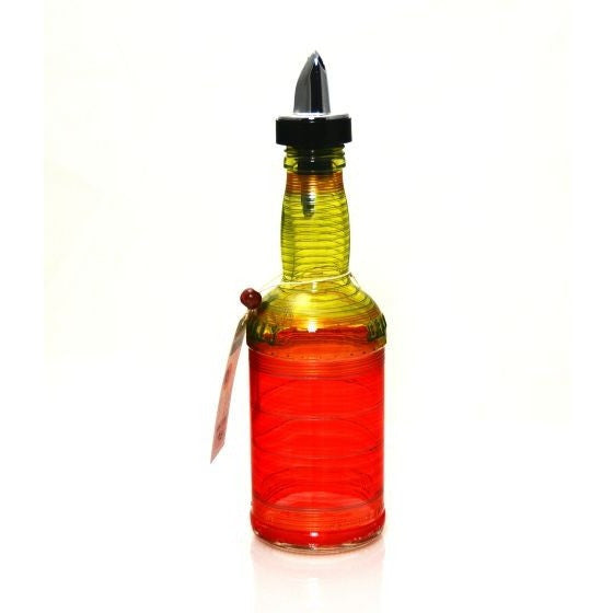 SMALL BEER BOTTLE GLASS POURING CRUET BOTTLE - PINK