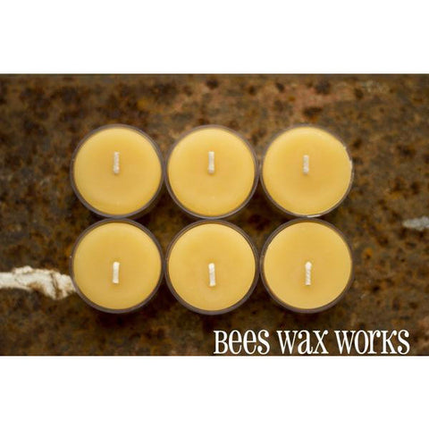 Pure Beeswax Tea Light Candle in Plastic Container, Pack of 6 - Side Street Studio - 1