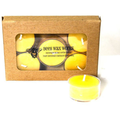 Pure Beeswax Tea Light Candle in Tin Container, Pack of 6 - Side Street Studio - 1
