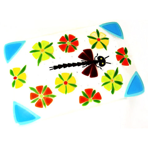 FUSED GLASS TRIVET WITH DRAGONFLY DESIGN - Side Street Studio