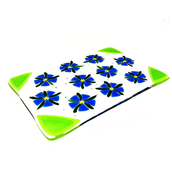 FUSED GLASS FLORAL TRIVET - Side Street Studio