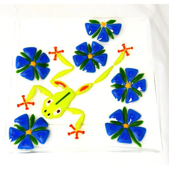 FUSED GLASS PLATE WITH FROG DESIGN - Side Street Studio