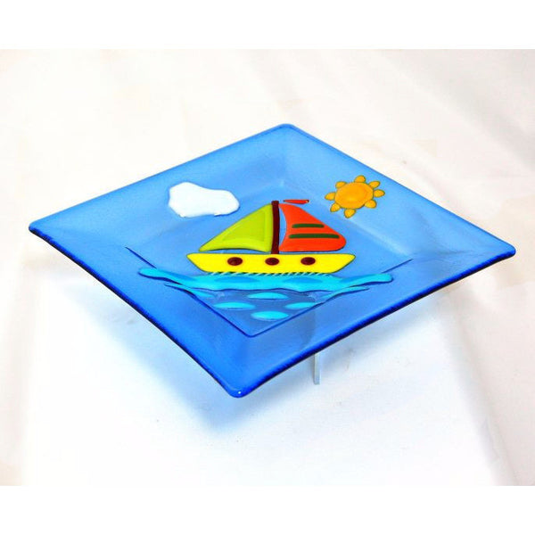 FUSED GLASS PLATE WITH SAIL BOAT DESIGN - Side Street Studio