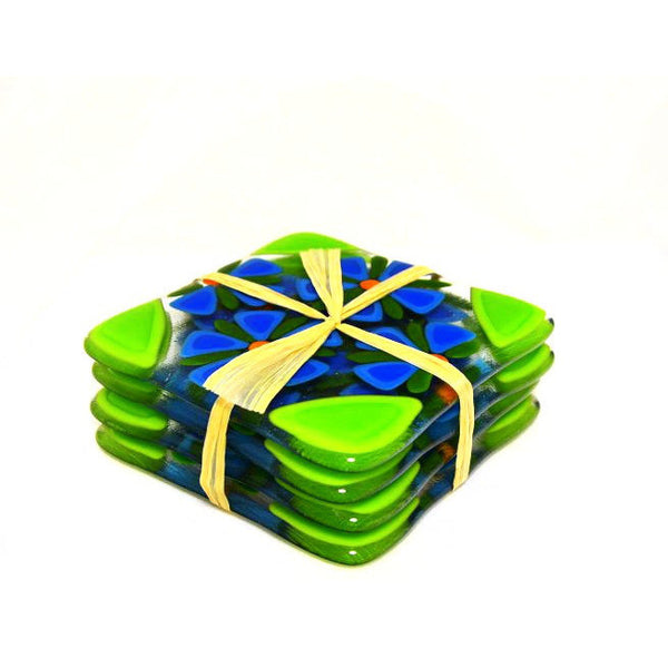 SET OF 4  FUSED GLASS COASTERS - Side Street Studio