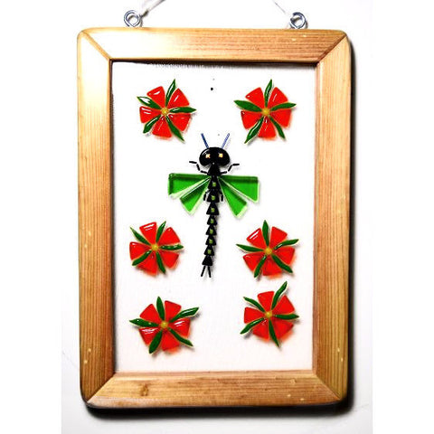 DRAGONFLY DESIGN FUSED HANGING GLASS AND WOOD WINDOW - Side Street Studio
