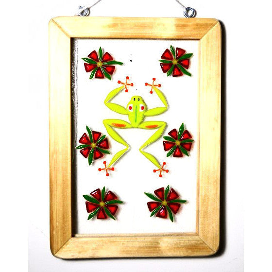 FROG DESIGN FUSED HANGING GLASS AND WOOD WINDOW - Side Street Studio