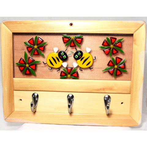 BEE DESIGN GLASS AND WOOD COAT RACK - Side Street Studio