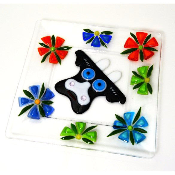FUSED GLASS PLATE WITH COW DESIGN - Side Street Studio