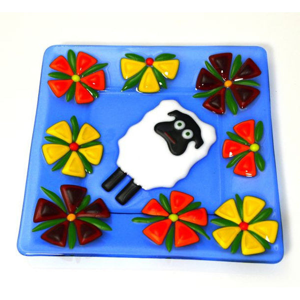 FUSED GLASS PLATE WITH SHEEP DESIGN - Side Street Studio