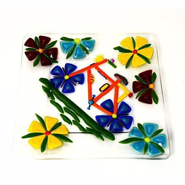 FUSED GLASS PLATE WITH BIKE DESIGN - Side Street Studio