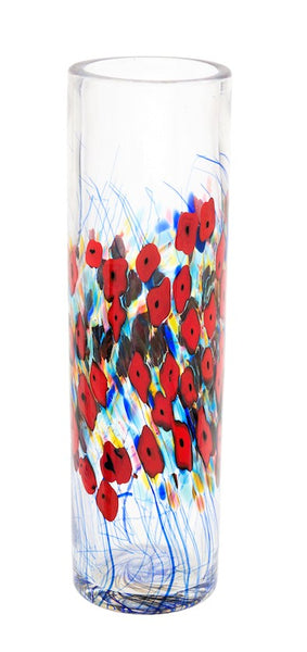 Robert Held Clear California Poppy Cylindrical Vase - Dropship