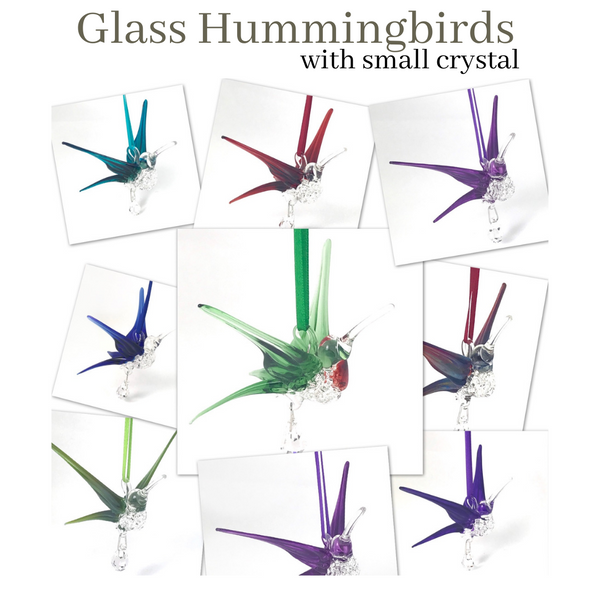 Glass Hummingbird with Small Crystal
