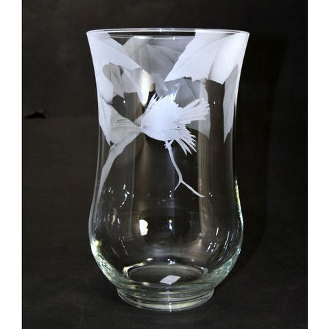 CHICKADEE ETCHED GLASS VASE - Side Street Studio  - 1