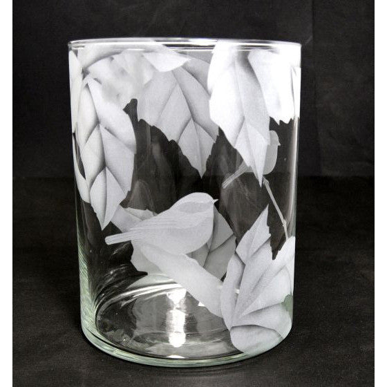 CHICKADEE ETCHED GLASS VASE - Side Street Studio