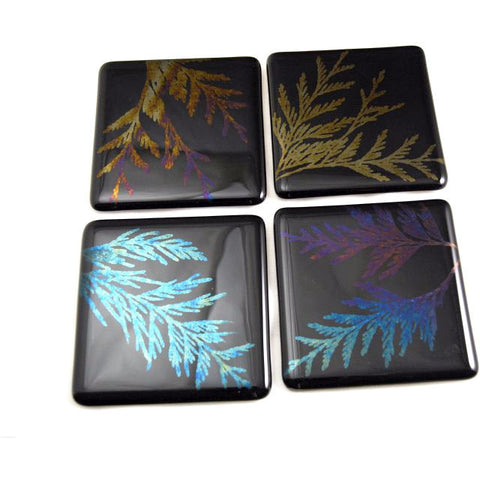 SET 4  GLASS CEDAR FERN COASTERS - Side Street Studio