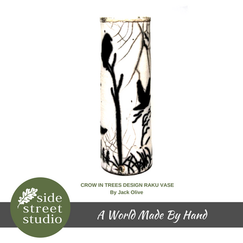 CROW IN TREES DESIGN RAKU VASE - Side Street Studio - 1