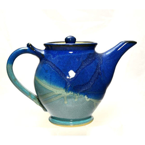 MEDIUM TEAPOT AQUA AND BLUE - Side Street Studio