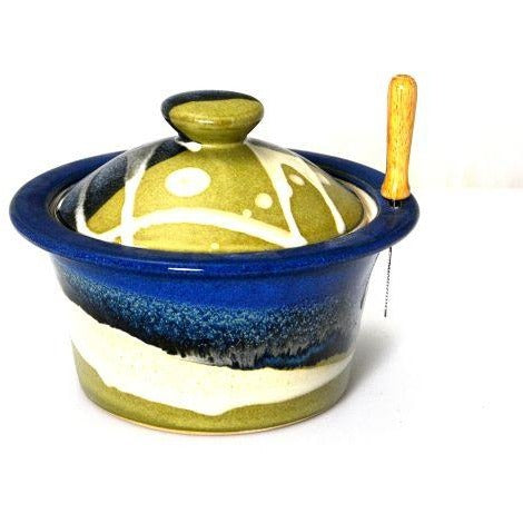 LIDDED PATE DISH SAGE AND BLUE