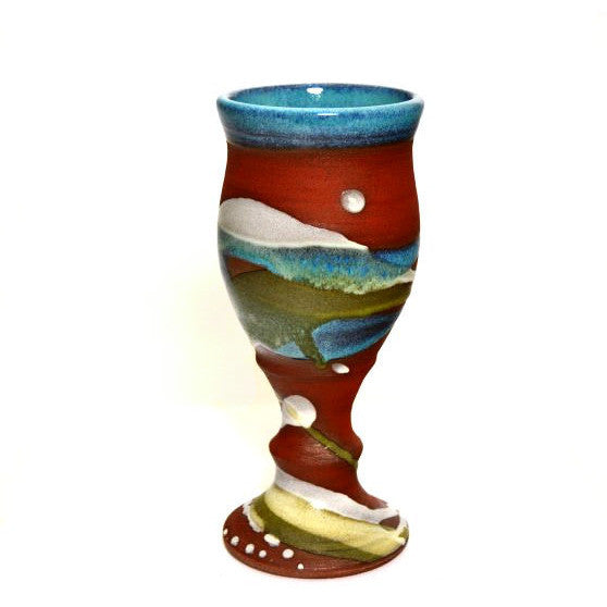 GOBLET - TERRACOTTA AND AQUA - Side Street Studio - 1