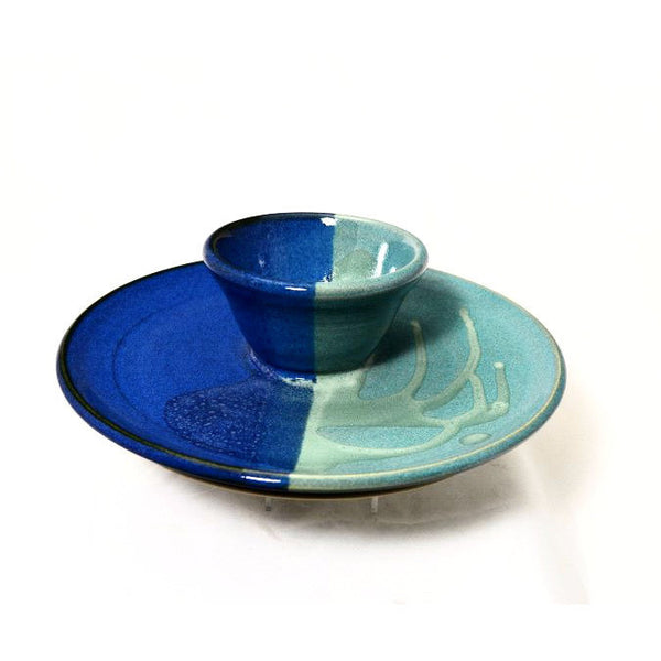 ONE PIECE DIP PLATTER - AQUA & BLUE - Side Street Studio