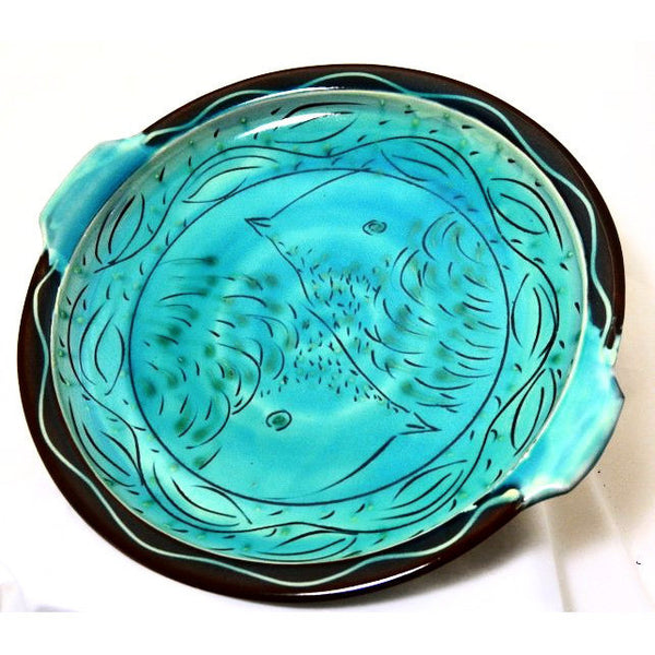 TURQUOISE LARGE SERVING TRAY WITH HANDLES - Side Street Studio