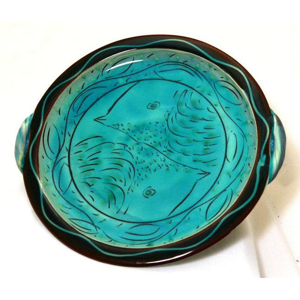 TURQUOISE SERVING TRAY WITH HANDLES - Side Street Studio