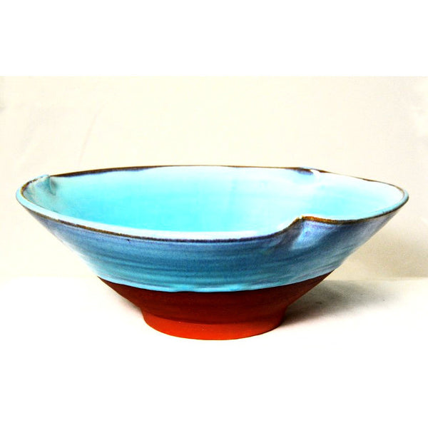Medium Turquoise Bowl with Pinched Rim, 9 1/2 inches - Side Street Studio - 1