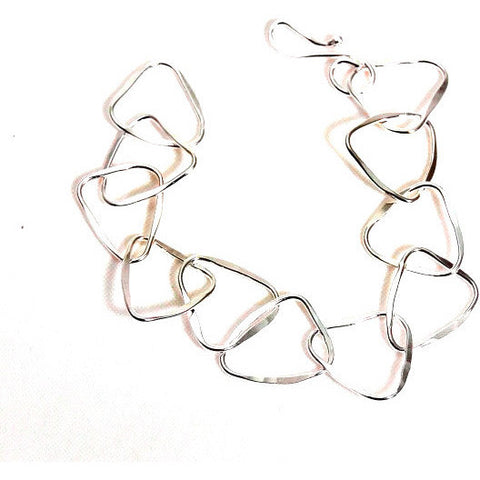 STERLING SILVER TRIANGULAR RINGS BRACELET - Side Street Studio