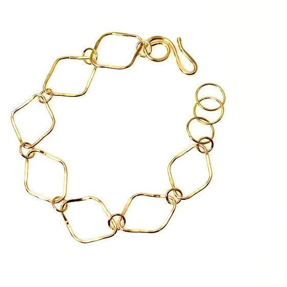 GOLD FILLED DIAMOND SHAPED LINKS BRACELET - Side Street Studio