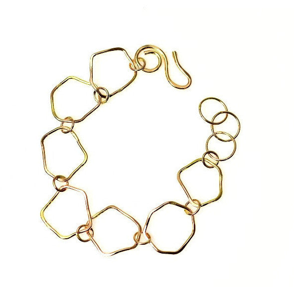 GOLD FILLED ABSTRACT SHAPED LINKS BRACELET - Side Street Studio - 1