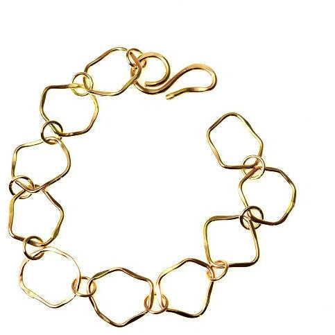 GOLD FILLED ABSTRACT SHAPED LINKS BRACELET - Side Street Studio
