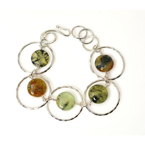 STERLING SILVER AND PREHNITE BRACELET - Side Street Studio