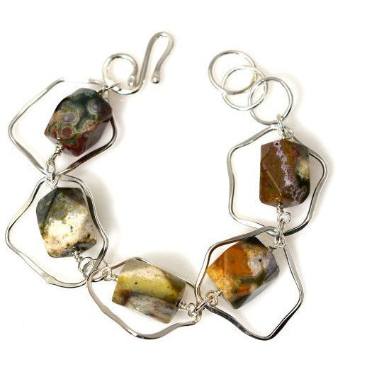 STERLING SILVER AND OCEAN JASPER BRACELET - Side Street Studio