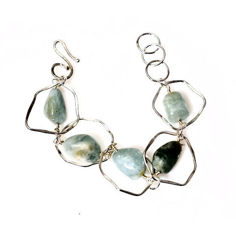 STERLING SILVER AND AQUAMARINE BRACELET - Side Street Studio