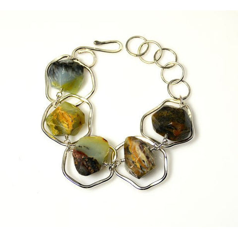 STERLING SILVER AND PERUVIAN OPAL BRACELET - Side Street Studio