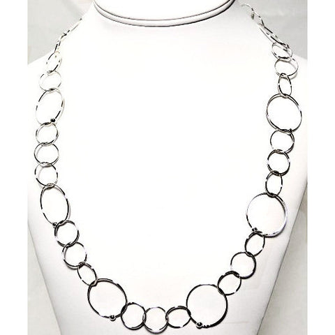 STERLING SILVER RINGS CHAIN NECKLACE - Side Street Studio - 1