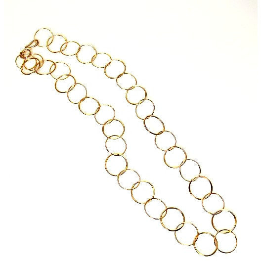 GOLD FILLED FORGED RINGS CHAIN NECKLACE - Side Street Studio - 1