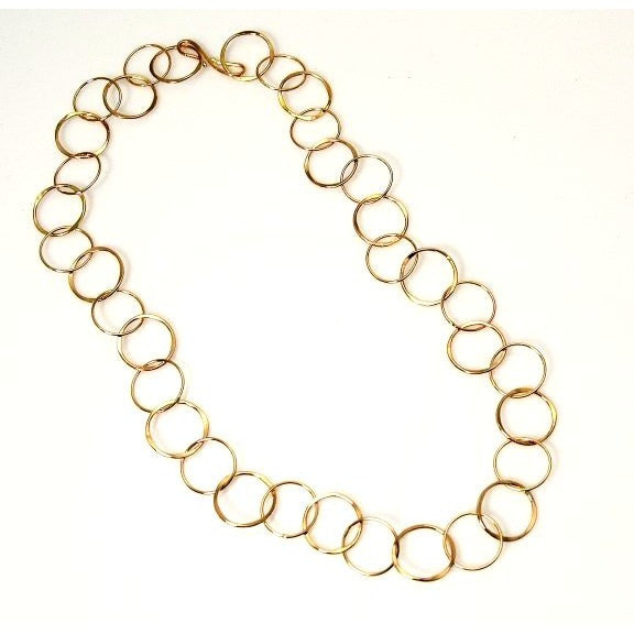GOLD FILLED FORGED RING CHAIN NECKLACE